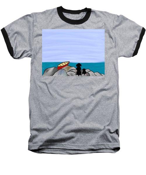 Dogs At Beach Baseball T-Shirt