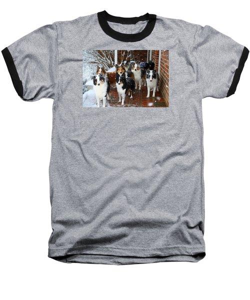 Dogs During Snowmageddon Baseball T-Shirt