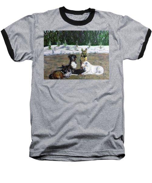 Dogs Having A Meeting Baseball T-Shirt