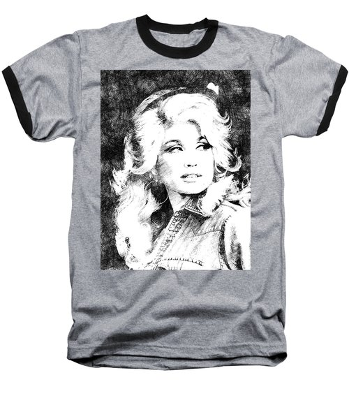 Dolly Parton Bw Portrait Baseball T-Shirt by Mihaela Pater