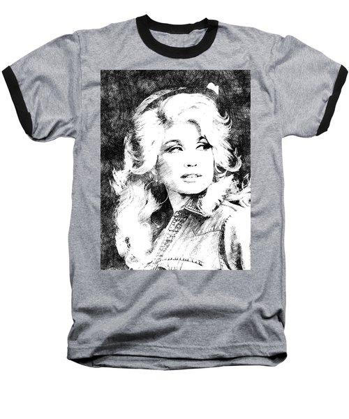 Dolly Parton Bw Portrait Baseball T-Shirt