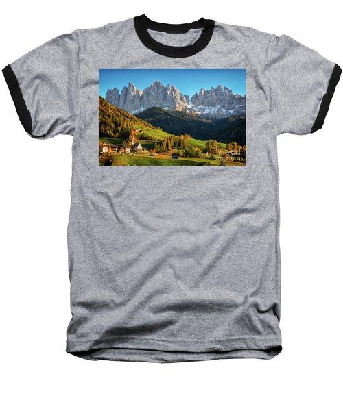 Dolomite Village In Autumn Baseball T-Shirt by IPics Photography