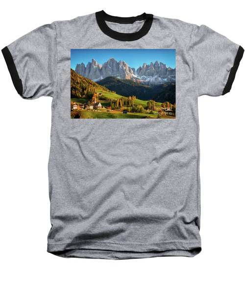Dolomite Village In Autumn Baseball T-Shirt