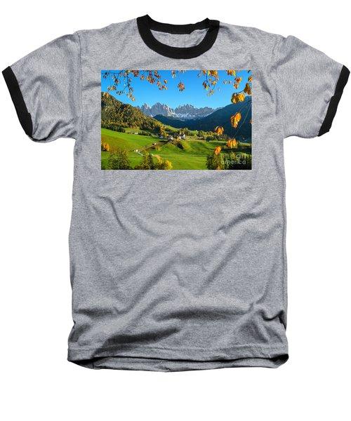 Dolomites Mountain Village In Autumn In Italy Baseball T-Shirt