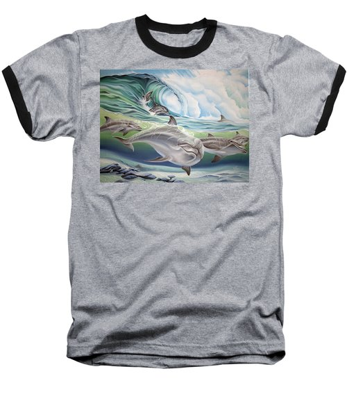Dolphin 2 Baseball T-Shirt by William Love