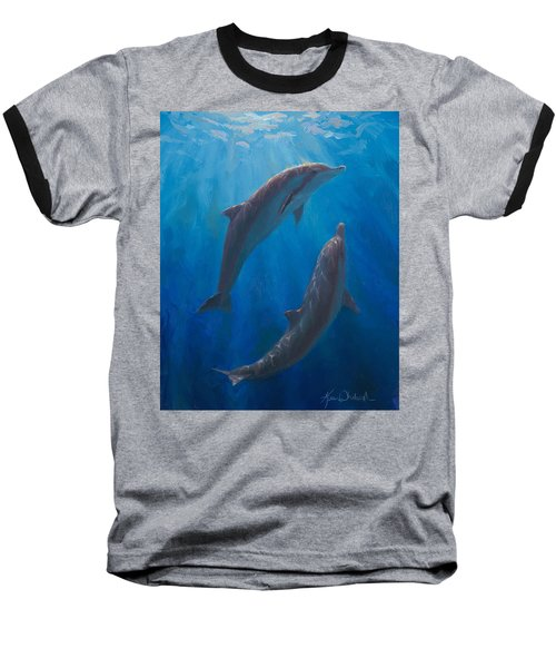 Baseball T-Shirt featuring the painting Dolphin Dance - Underwater Whales by Karen Whitworth