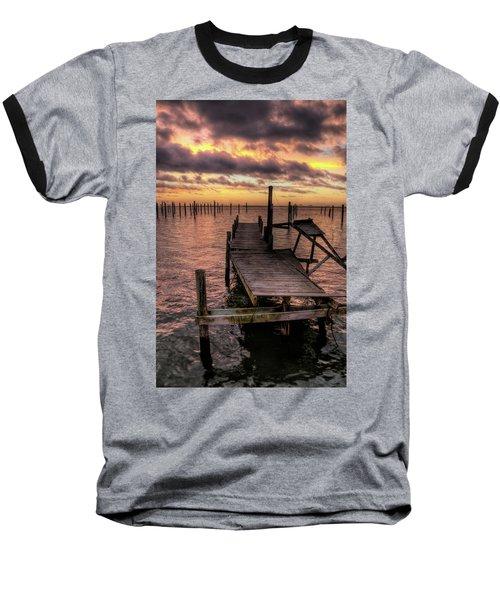 Dolphin Dock Baseball T-Shirt by John Loreaux