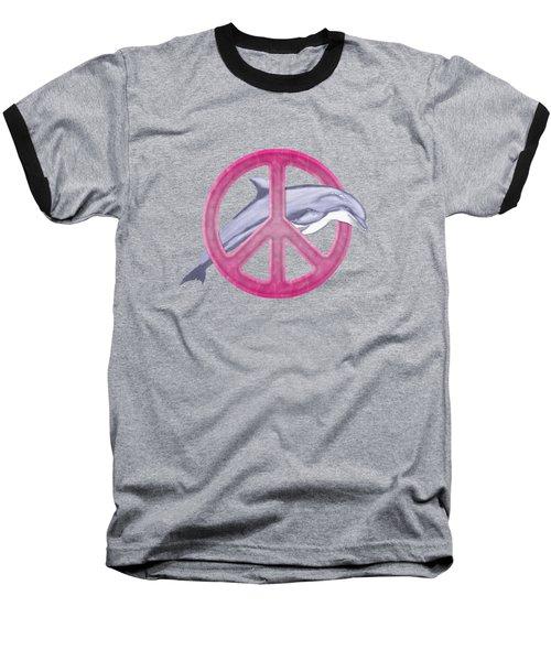 Dolphin Peace Pink Baseball T-Shirt by Chris MacDonald