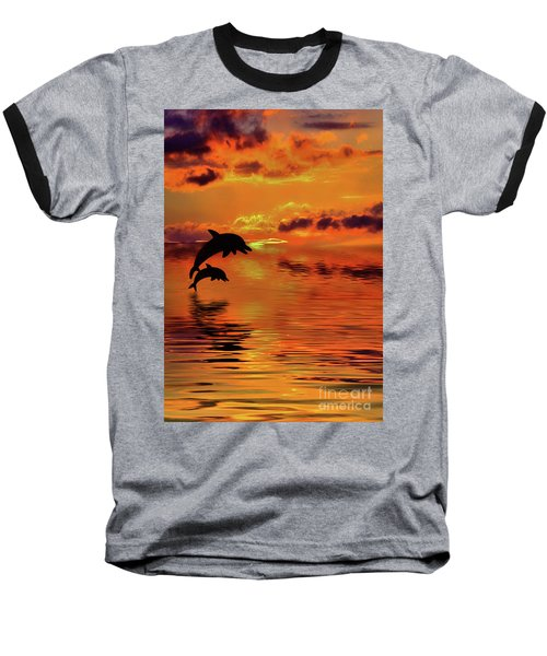 Baseball T-Shirt featuring the digital art Dolphin Silhouette Sunset By Kaye Menner by Kaye Menner