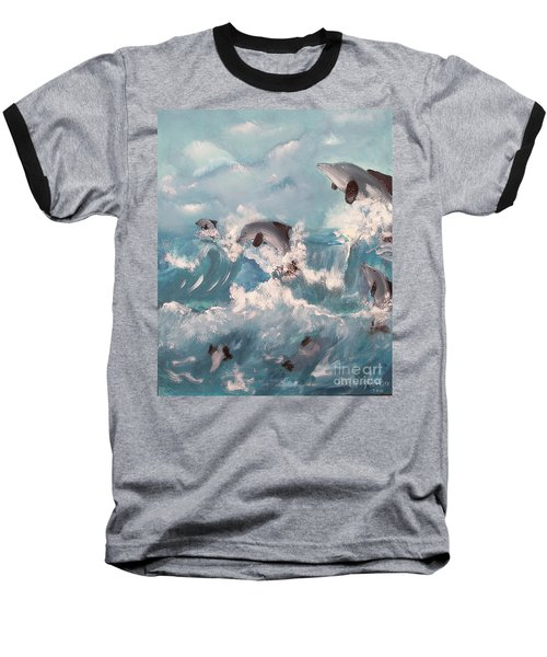 Dolphins At Play Baseball T-Shirt