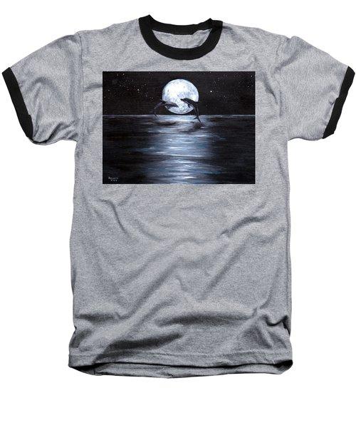 Dolphins Dancing Full Moon Baseball T-Shirt