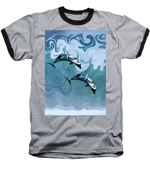 Dolphins Playing In The Waves Baseball T-Shirt