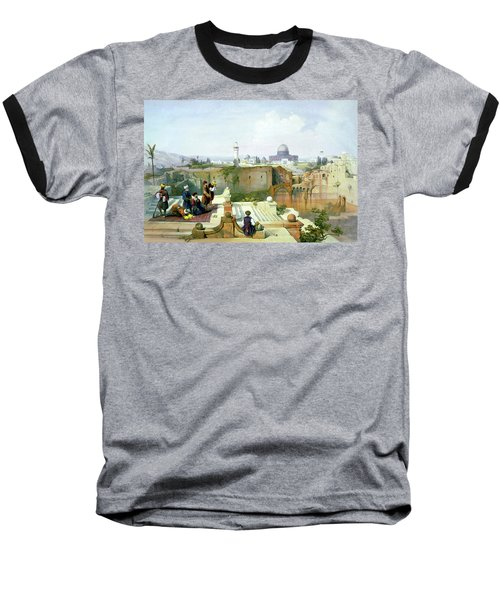 Dome Of The Rock In The Background Baseball T-Shirt by Munir Alawi