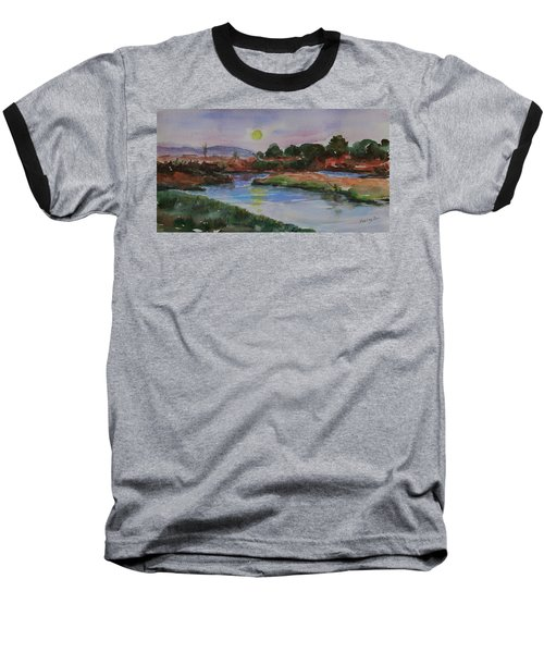 Baseball T-Shirt featuring the painting Don Edwards San Francisco Bay National Wildlife Refuge Landscape 1 by Xueling Zou