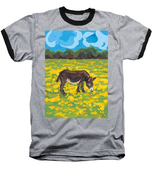 Donkey And Buttercup Field Baseball T-Shirt by Sarah Gillard