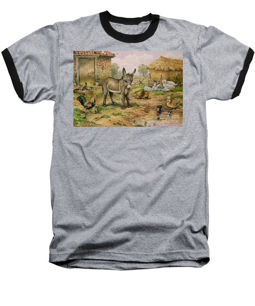Donkey And Farmyard Fowl  Baseball T-Shirt by Carl Donner