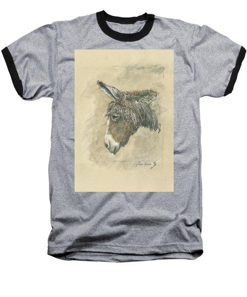 Donkey Portrait Baseball T-Shirt