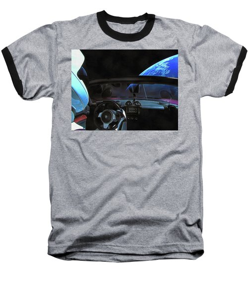 Dont Panic - Tesla In Space Baseball T-Shirt