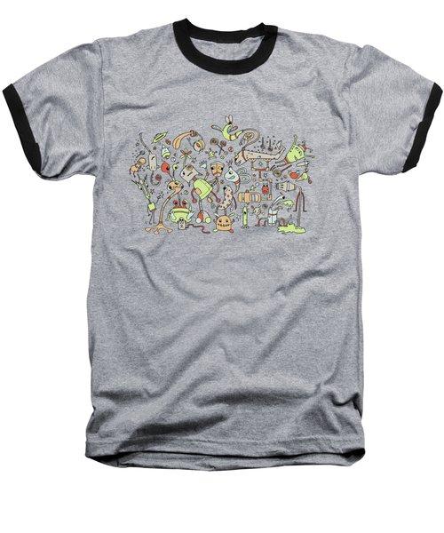 Doodle Bots Baseball T-Shirt by Dana Alfonso