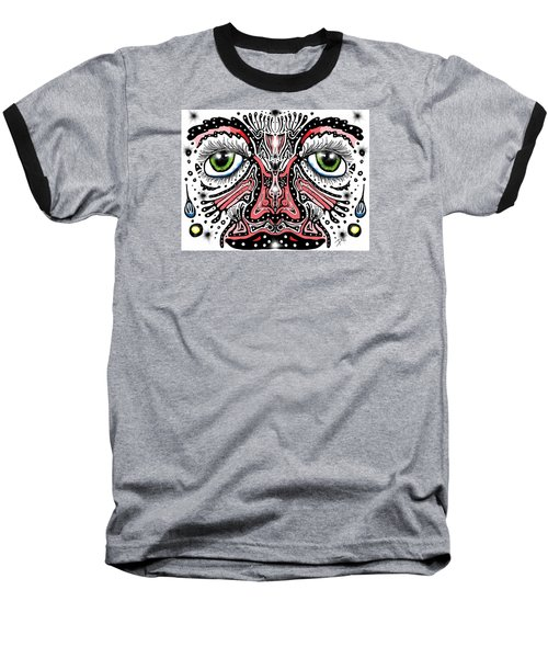 Baseball T-Shirt featuring the digital art Doodle Face by Darren Cannell