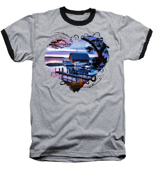 Baseball T-Shirt featuring the painting Door County Anderson Dock Sunset by Christopher Arndt