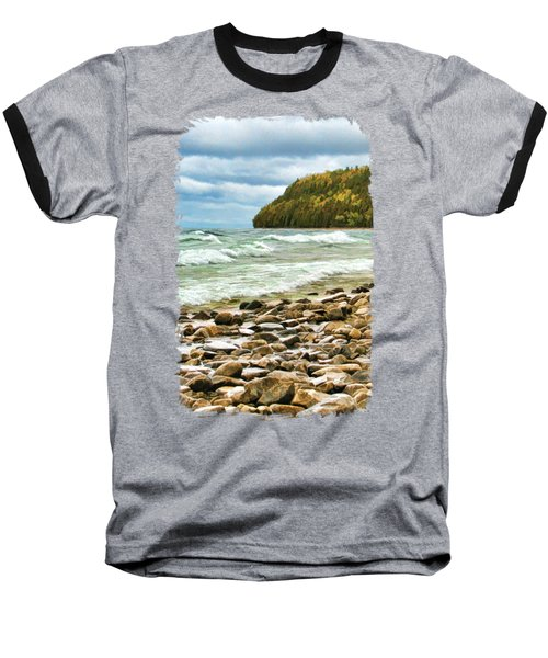 Baseball T-Shirt featuring the painting Door County Porcupine Bay Waves by Christopher Arndt