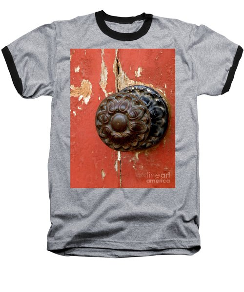 Door Knob On Red Door Baseball T-Shirt by Lainie Wrightson