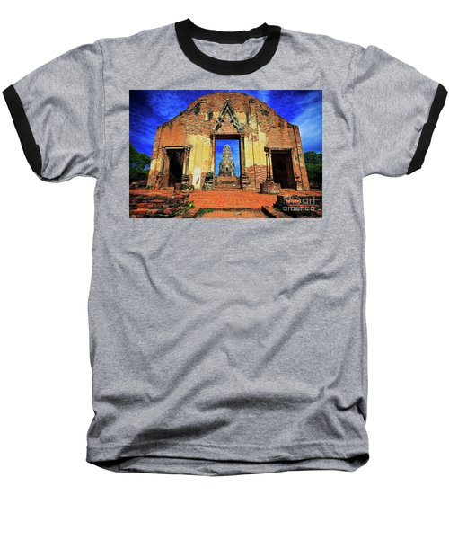 Doorway To Wat Ratburana In Ayutthaya, Thailand Baseball T-Shirt by Sam Antonio Photography