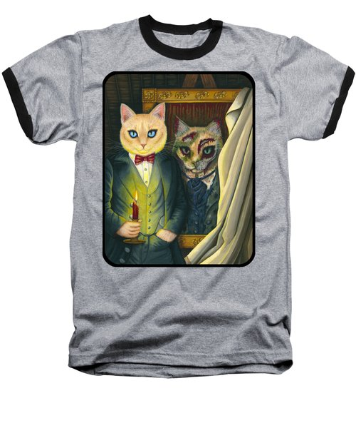 Baseball T-Shirt featuring the painting Dorian Gray by Carrie Hawks