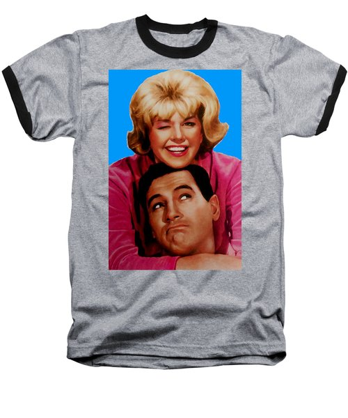 Baseball T-Shirt featuring the mixed media Doris Day Rock Hudson  by Paul Van Scott