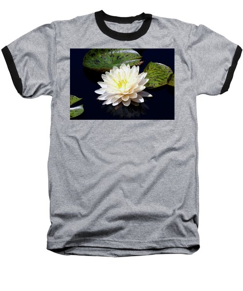 Dotty White Lotus And Lily Pads 0030 Dlw_h_2 Baseball T-Shirt
