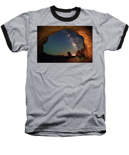 Double Arch Milky Way Views Baseball T-Shirt by Darren White