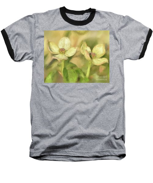 Baseball T-Shirt featuring the digital art Double Dogwood Blossoms In Evening Light by Lois Bryan