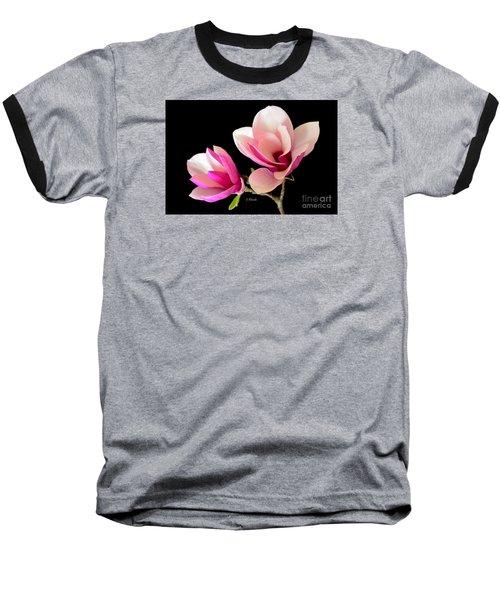 Double Magnolia Blooms Baseball T-Shirt
