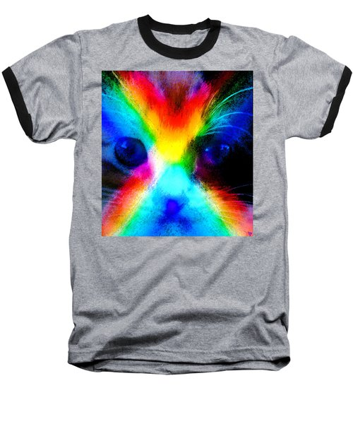 Baseball T-Shirt featuring the painting Double Rainbow Cat by David Lee Thompson