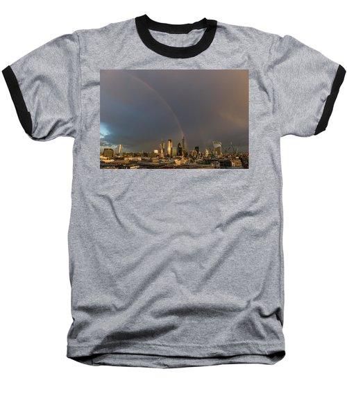 Double Rainbow Over The City Of London Baseball T-Shirt