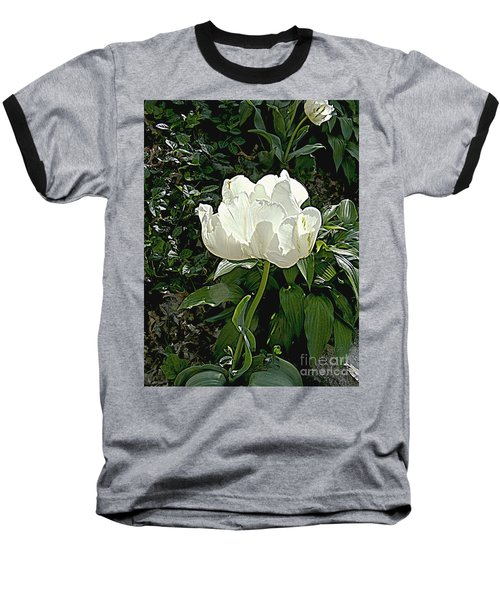 Baseball T-Shirt featuring the photograph Double Tulip In White by Nancy Kane Chapman