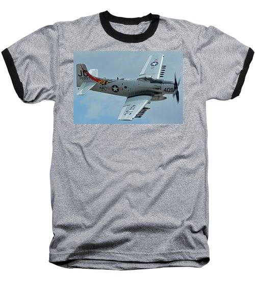 Baseball T-Shirt featuring the photograph Douglas A-1d Skyraider Nx409z Chino California April 30 2016 by Brian Lockett
