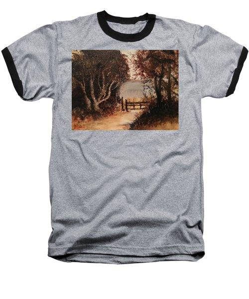 Down The Path Baseball T-Shirt by Sharon Schultz