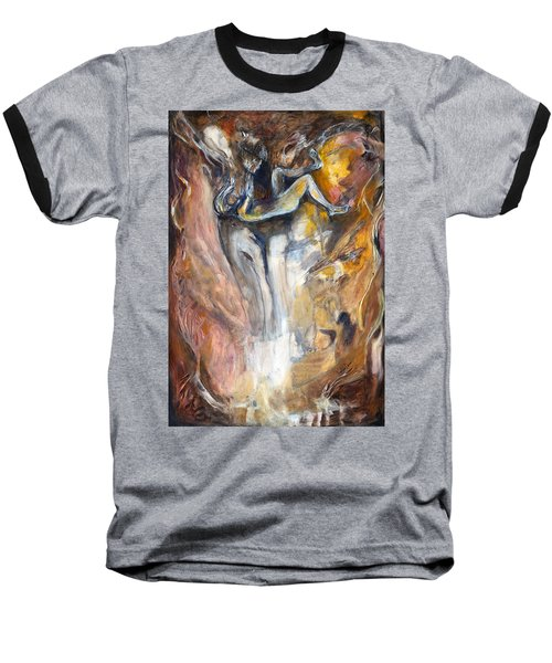 Baseball T-Shirt featuring the painting Down The Rabbit Hole by Nadine Dennis