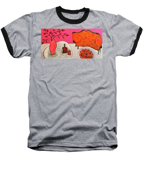 Baseball T-Shirt featuring the painting Down The Stairs Into The Living Room  By Paul Paucciarelli  by Iconic Images Art Gallery David Pucciarelli