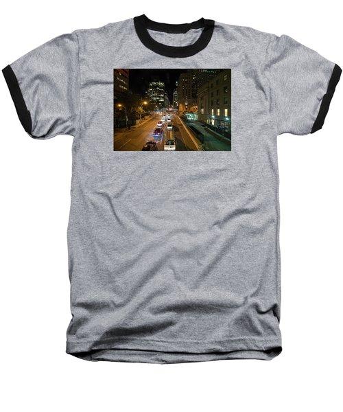 Down Town Toronto At Night Baseball T-Shirt by John Black