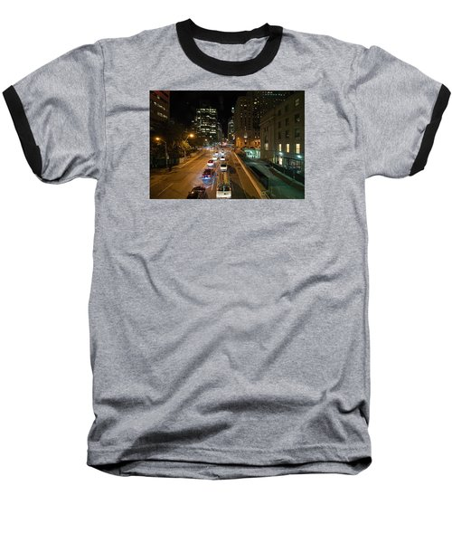 Down Town Toronto At Night Baseball T-Shirt