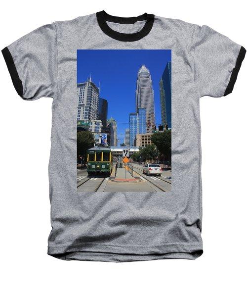 Downtown Charlotte Trolley 1  Baseball T-Shirt
