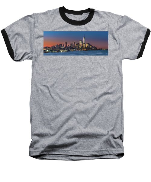 Downtown And Freedom Tower Baseball T-Shirt