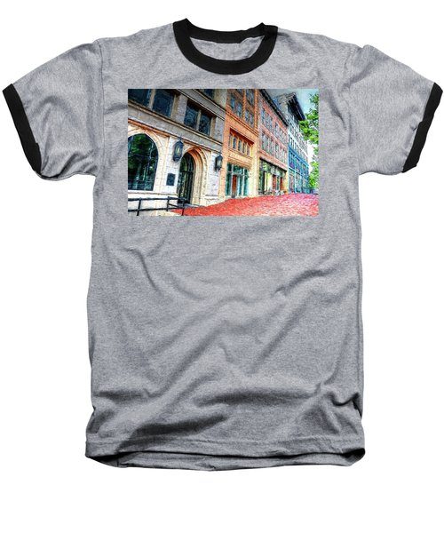 Downtown Asheville City Street Scene II Painted Baseball T-Shirt