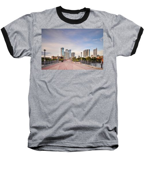 Downtown Austin Skyline From Lamar Street Pedestrian Bridge - Texas Hill Country Baseball T-Shirt by Silvio Ligutti