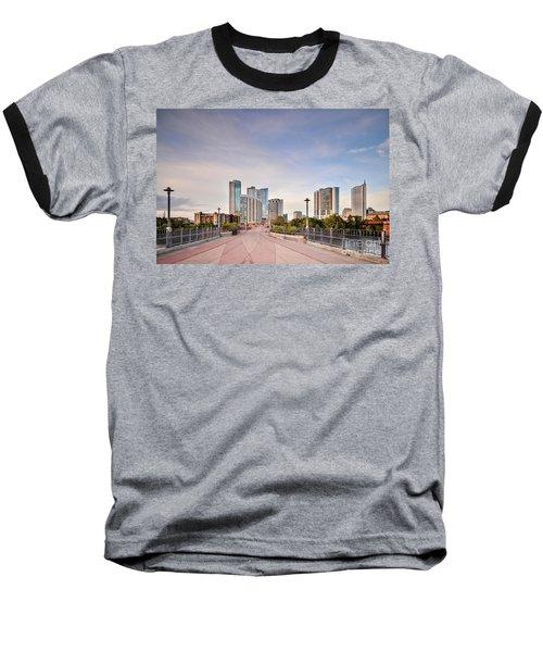 Downtown Austin Skyline From Lamar Street Pedestrian Bridge - Texas Hill Country Baseball T-Shirt