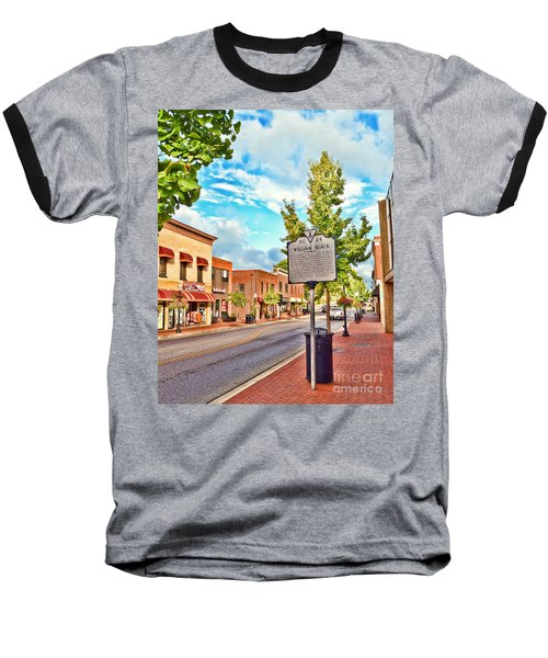 Downtown Blacksburg With Historical Marker Baseball T-Shirt by Kerri Farley