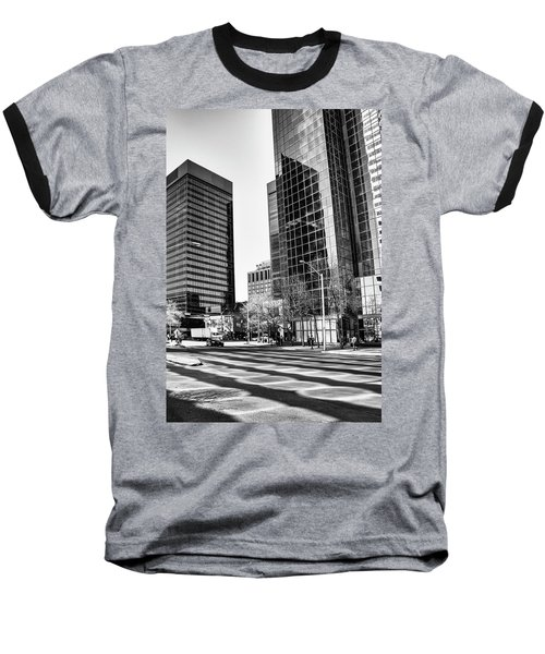 Baseball T-Shirt featuring the photograph Downtown Bubble Reflections by Darcy Michaelchuk